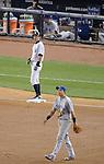 (T-B) Ichiro Suzuki (Yankees), Munenori Kawasaki (Blue Jays),.MAY 17, 2013 - MLB :.Ichiro Suzuki of the New York Yankees stands on third base as Munenori Kawasaki of the Toronto Blue Jays looks on during the baseball game at Yankee Stadium in The Bronx, New York, United States. (Photo by AFLO)