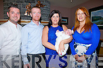 CHRISTENED:  Baby Aubrey Hannah O'Leary who was christened in Gneevegulla Church on Sunday and afterward to O'Riada's Bar & Restaurant for dinner with her family l-r: Michael O'Leary (Godfather), Timmy O'Leary (dad), Ciara O'Connor (Mother) and Rebecca Ni Riordáin (godmother).