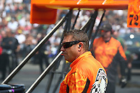 Aug. 2, 2014; Kent, WA, USA; Crew chief Rob Wendland for NHRA top fuel dragster driver Mike Salinas during qualifying for the Northwest Nationals at Pacific Raceways. Mandatory Credit: Mark J. Rebilas-