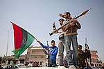 Mcc0030300 . Sunday Telegraph..Rebel fighters in the town of Ajdabiyah after Libyan government forces retreated on saturday night due to repeated attacks from NATO airstrikes...Ajdabiyah 26 March 2011