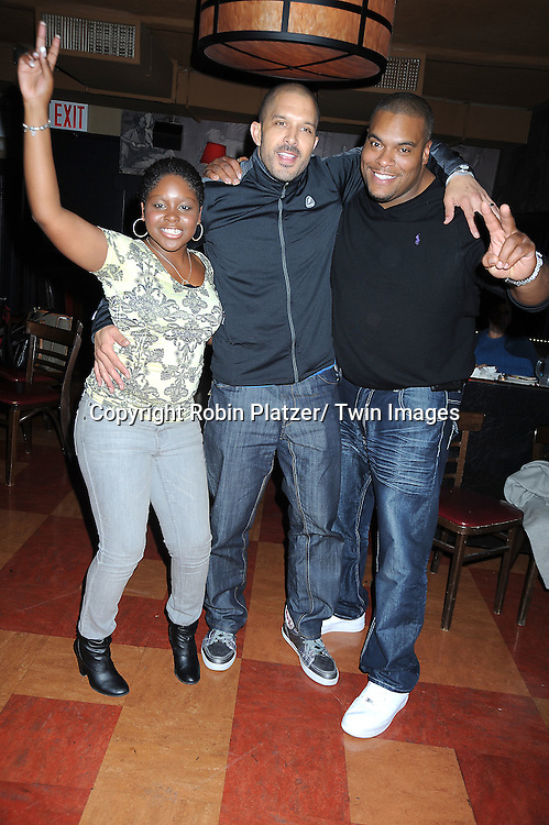Shenell Edmonds, Terrell Tilford and Sean Ringgold at the Shenell Edmonds Fan Club Dance Party  on October 10, 2010 at HB Burger in New York City.