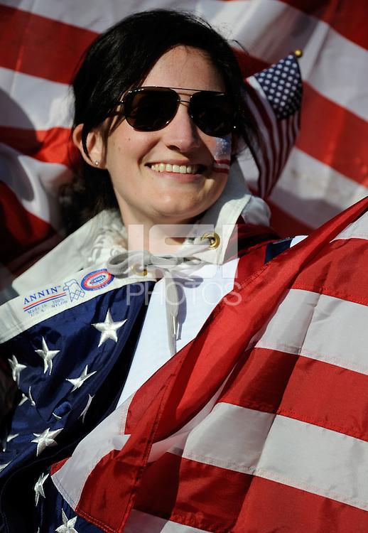 A female USA football fan