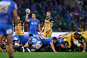 June 3rd 2017, NIB Stadium, Perth, Australia; Super Rugby; Force v Hurricanes;  Michael Ruru of the Western Force sets for a scrum