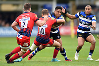Ben Tapuai of Bath Rugby takes on the Worcester Warriors defence. Aviva Premiership match, between Bath Rugby and Worcester Warriors on October 7, 2017 at the Recreation Ground in Bath, England. Photo by: Patrick Khachfe / Onside Images