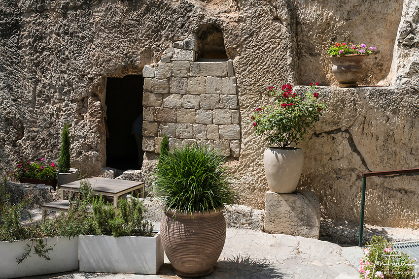The exterior of the Garden Tomb in Jerusalem, just north of the Damascus Gate and outside the walls of the ancient city.  The Garden Tomb is thought by many to be the burial place of Jesus Christ, rather than in the Church of the Holy Sepulchre.  Nearby is a hill thought by many to be Golgotha, the site of the crucifixion of Christ.