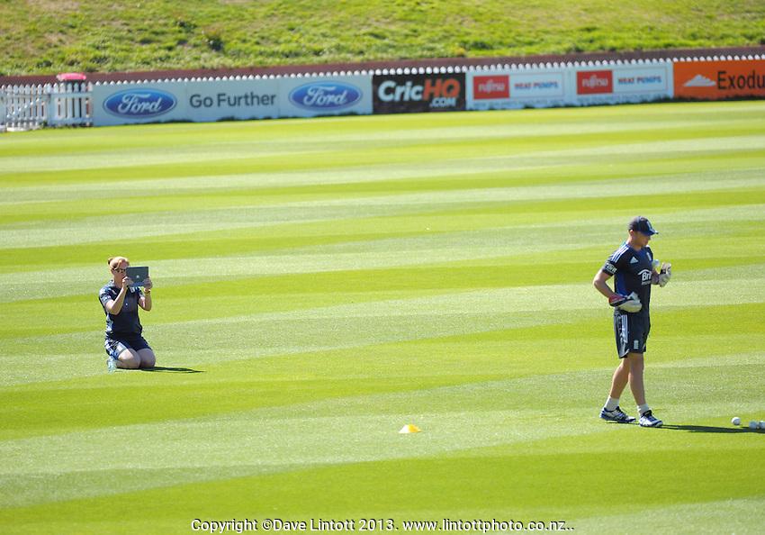 Video analyst Gemma Broad (left) films the England cricket training at Hawkins Basin Reserve, Wellington, New Zealand on Thursday, 14 February 2013. Photo: Dave Lintott / lintottphoto.co.nz