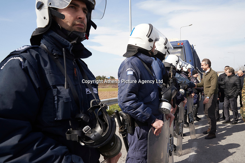 Pictured: Kyriakos Mitsotakis meets with riot police officers in the Evros area, Greece. Tuesday 03 March 2020<br /> Re: Greek Prime Minister Kyriakos Mitsotakis has met with members of the emergency services and army personnel at the Evros area, Greece