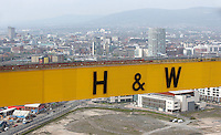 JOHANN MULLER VISITS HARLAND &amp; WOLFF BELFAST -    Wednesday 30th April 2014<br /> <br /> A view of Belfast from the top of the Samson crane during their Harland &amp; Wolff shipyard in Belfast.<br /> <br /> Mandatory Credit - Photo by John Dickson - DICKSONDIGITAL