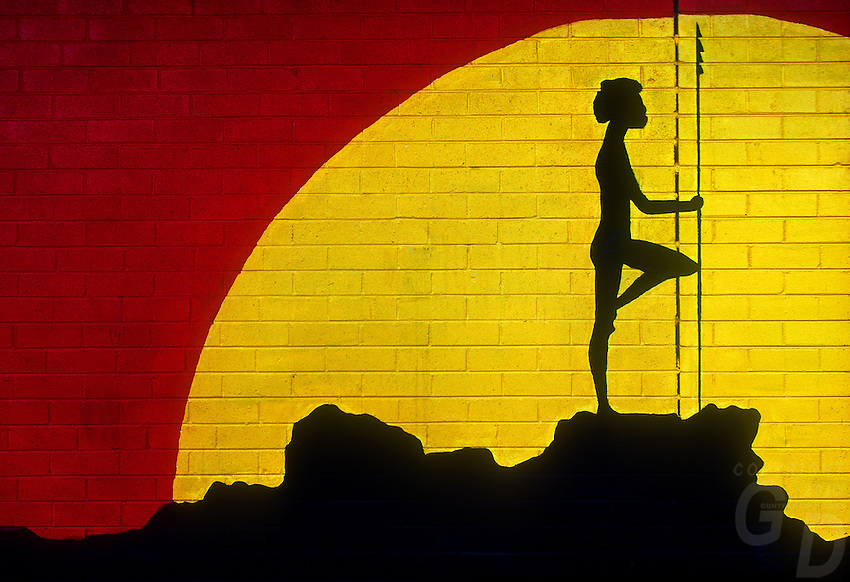 Wall mural (painting) of Australian Aboriginal Dream Time on the wall at the Darwin High School, Northern Territory, Australia