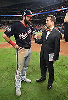 HOUSTON - OCTOBER 29: Ken Rosenthal speaks to Nationals third baseman Anthony Rendon following World Series Game 6: Washington Nationals at Houston Astros on Fox Sports at Minute Maid Park on October 29, 2019 in Houston, Texas. (Photo by Frank Micelotta/Fox Sports/PictureGroup)