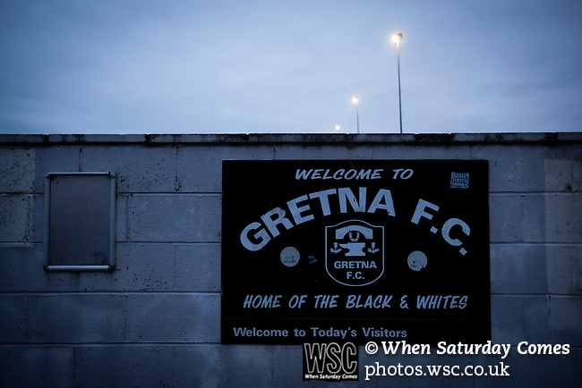 A club sign outside on a perimeter wall at Raydale Park before Gretna hosted Dalbeattie Star in a Lowland League fixture, which ended in a 0-0 draw. The match was one of six attended by members of GroundhopUK over the weekend to accommodate groundhoppers, fans who attempt to visit as many football venues as possible. Around 100 fans in two coaches from England participated in the 2016 Lowland League Groundhop and they were joined by other individuals from across the UK which helped boost crowds at the six featured matches. Photo by Colin McPherson.