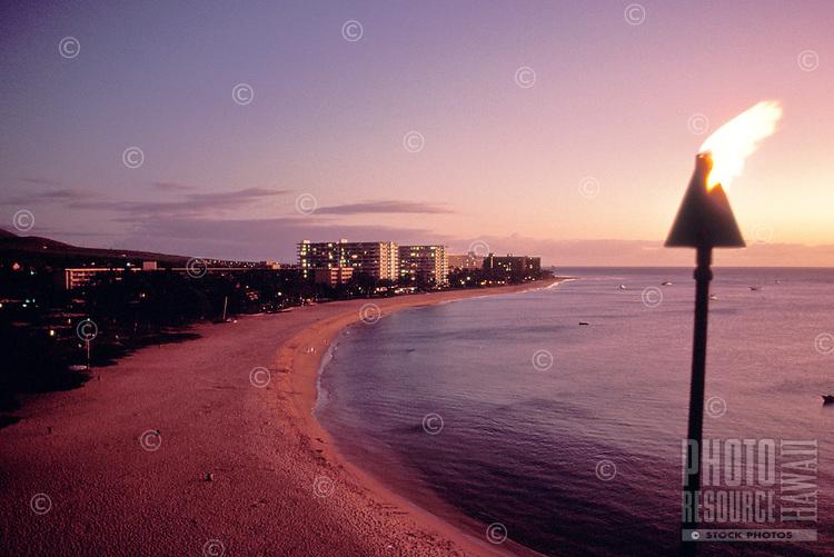 Tiki torch at sunset, Kaanapali, Maui