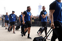 Max Lahiff, Ruaridh McConnochie and the rest of the Bath Rugby team arrive at Twickenham Stadium. Gallagher Premiership match, The Clash, between Bath Rugby and Bristol Rugby on April 6, 2019 at Twickenham Stadium in London, England. Photo by: Rogan Thomson / JMP for Onside Images