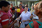 Consolata Sister Inés Arciniegas speaks with Venezuelan refugees receiving food and other emergency support from the Consolata Missionary Sisters in Boa Vista, Brazil.