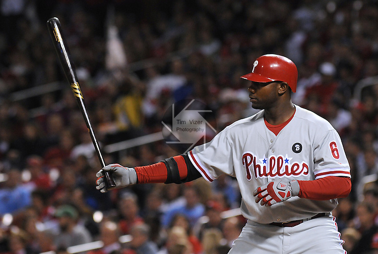17 May 2011                             Philadelphia Phillies first baseman Ryan Howard (6) lines up his bat before batting. The St. Louis Cardinals defeated the Philadelphia Phillies 2-1 on Tuesday May 17, 2011 in the second game of a two-game series at Busch Stadium in downtown St. Louis.