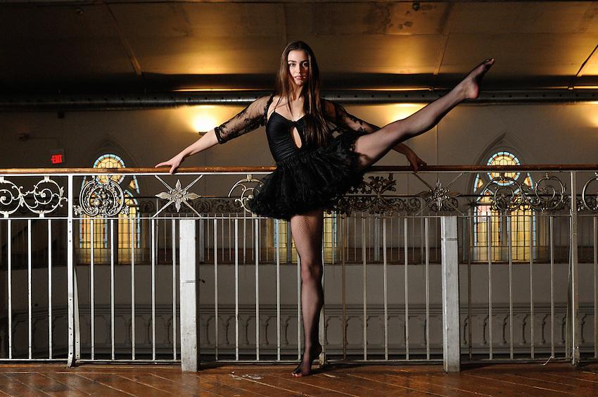 Gregory Holmgren Photography, dance, movement project, model, dancer, Janie Pinard at Berkeley Church, Toronto, ON, December 10, 2012.