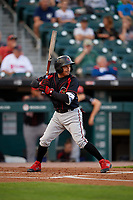 Rochester Red Wings Ronald Torreyes (2) bats during an International League game against the Buffalo Bisons on August 26, 2019 at Sahlen Field in Buffalo, New York.  Buffalo defeated Rochester 5-4.  (Mike Janes/Four Seam Images)