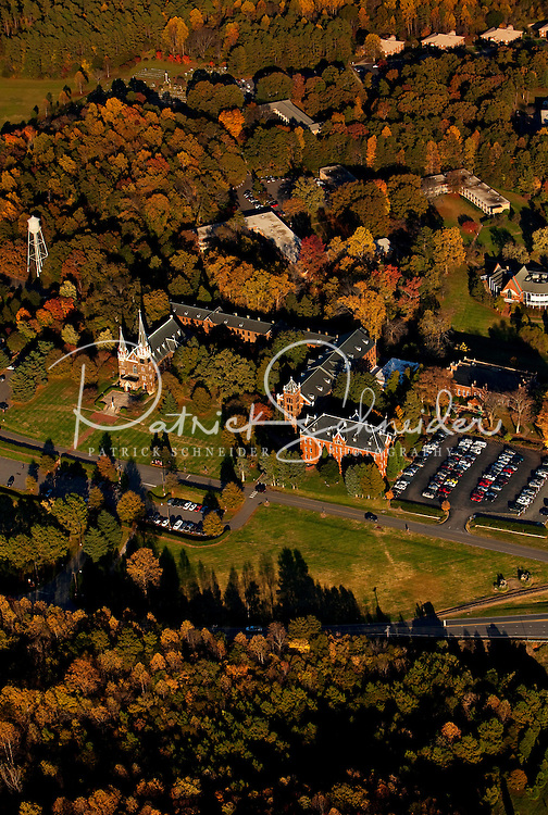 Aerial photography over Charlotte, NC, and the surrounding areas from November 2009. Photos by Charlotte photographer Patrick Schneider Photography. Photo of chapel and campus of Belmont Abbey College.