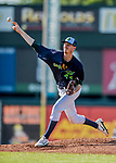 16 July 2017: Vermont Lake Monsters pitcher Brian Howard, an 8th round draft pick for the Oakland Athletics, on the mound against the Auburn Doubledays at Centennial Field in Burlington, Vermont. The Monsters defeated the Doubledays 6-3 in NY Penn League action. Mandatory Credit: Ed Wolfstein Photo *** RAW (NEF) Image File Available ***
