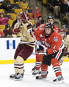 Destry Straight (BC - 17), Dan Cornell (Northeastern - 4) - The Boston College Eagles defeated the Northeastern University Huskies 7-1 in the opening round of the 2012 Beanpot on Monday, February 6, 2012, at TD Garden in Boston, Massachusetts.