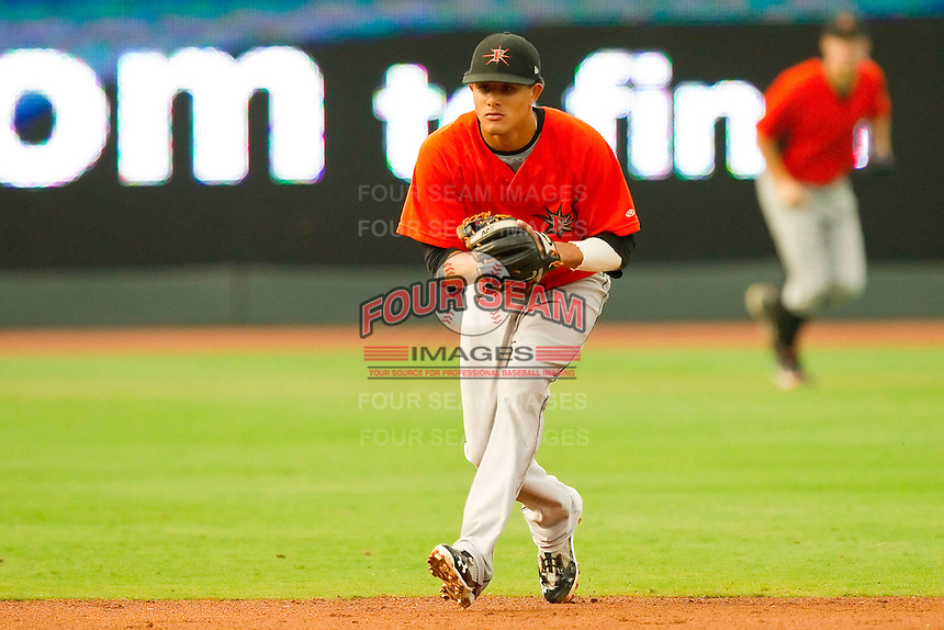 Shortstop Manny Machado #3 of the Frederick Keys on defense against the Winston-Salem Dash at BB&T Ballpark on August 5, 2011 in Winston-Salem, North Carolina.  The Dash defeated the Keys 10-0.   Brian Westerholt / Four Seam Images