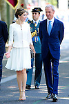 Queen Letizia of Spain with Pedro de Morenes, Minister of Defense of the Government of Spain during the 2015 Armed Forces Day Ceremony at the Plaza de la Lealtad. June 6,2015. (ALTERPHOTOS/Pool/Rogelio Pinate)