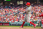 15 September 2013: Philadelphia Phillies shortstop Jimmy Rollins connects against the Washington Nationals at Nationals Park in Washington, DC. The Nationals took the rubber match of their 3-game series 11-2 to keep Washington's wildcard hopes alive. Mandatory Credit: Ed Wolfstein Photo *** RAW (NEF) Image File Available ***