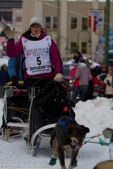 2010 Iditarod Ceremonial Start in Anchorage Alaska musher # 5 ZOYA DeNURE with Iditarider JOAN VANMETER
