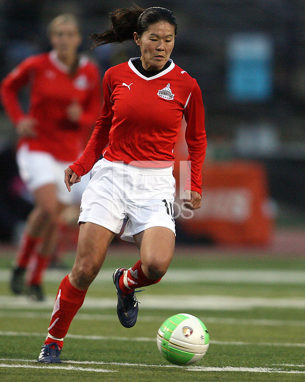 Homare Sawa #10 of the Washington Freedom moves the ball forward during a WPS match against the Philadelphia Freedom on April 25 2010, at John A. Farrell Stadium, in West Chester, Pennsylvania.