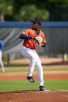 GCL Astros pitcher Brayan De Paula (30) during a Gulf Coast League game against the GCL Mets on August 10, 2019 at FITTEAM Ballpark of the Palm Beaches Training Complex in Palm Beach, Florida.  GCL Astros defeated the GCL Mets 8-6.  (Mike Janes/Four Seam Images)