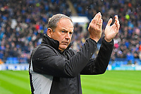 Gillingham Manager Steve Lovell applauds the travelling supporters before kick off during Portsmouth vs Gillingham, Sky Bet EFL League 1 Football at Fratton Park on 6th October 2018
