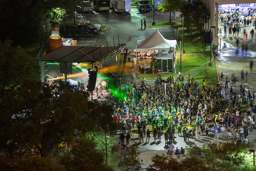 Crowds gather at the Austin360 Stage to hear live concert music during the annual Bat Fest in downtown Austin, Texas - Stock Image.