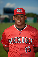 Batavia Muckdogs Albert Guaimaro (13) poses for a photo before a NY-Penn League game against the West Virginia Black Bears on June 26, 2019 at Dwyer Stadium in Batavia, New York.  Batavia defeated West Virginia 4-2.  (Mike Janes/Four Seam Images)