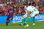 League Santander 2017/2018. Game: 01.<br /> FC Barcelona vs Real Betis: 2-0.<br /> Lionel Messi vs Camarasa.