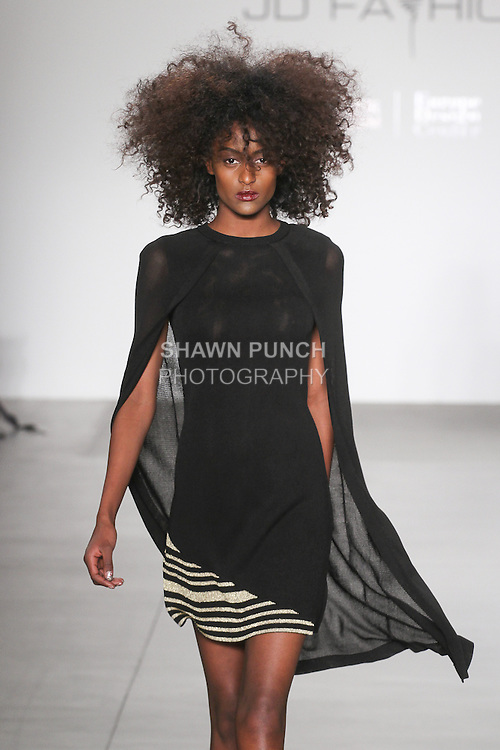 Model walks runway in an outfit for the Gioia Pan Fall 2016 collection, for the JD Fashion Fall 2016 runway show at Pier 59 Studios for NYFW: The Shows, during New York Fashion Week Fall 2016.