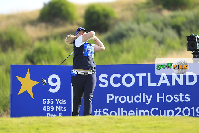 Caroline Hedwall Team Europe on the 9th tee during Day 1 Fourball at the Solheim Cup 2019, Gleneagles Golf CLub, Auchterarder, Perthshire, Scotland. 13/09/2019.<br /> Picture Thos Caffrey / Golffile.ie<br /> <br /> All photo usage must carry mandatory copyright credit (© Golffile | Thos Caffrey)