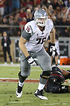 Cody O'Connell (76), Washington State offensive lineman, looks for a downfield block during the Cougars Pac-12 Conference road victory over the Stanford Cardinal, 42-16, on October 8, 2016, at Stanford Stadium in Palo Alto, California.