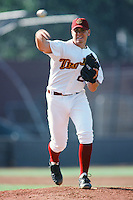 Seth Etherton of the USC Trojans pitches during a 1996 NCAA baseball season game at Dedeaux Field in Los Angeles, California. (Larry Goren/Four Seam Images)
