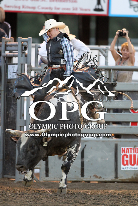 20 Aug 2014:  Aaron Pass was not able to score while competing in the Seminole Hard Rock Extreme Bulls competition at the Kitsap County Stampede in Bremerton, Washington.