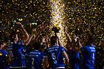 24.02.2019, SAP Arena, Mannheim<br /> Volleyball, DVV-Pokal Finale, Siegerehrung<br /> <br /> Pokalsieger 2019 VfB Friedrichshafen - Konfetti / Trophy<br /> <br />   Foto © nordphoto / Kurth
