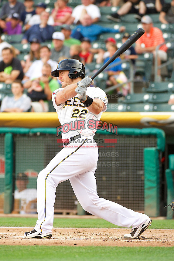 John Hester (22) of the Salt Lake Bees at bat against the Tacoma Rainiers in Pacific Coast League action at Smith's Ballpark on July 9, 2014 in Salt Lake City, Utah.  (Stephen Smith/Four Seam Images)