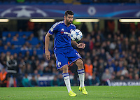 Diego Costa of Chelsea controls the ball during the UEFA Champions League match between Chelsea and Maccabi Tel Aviv at Stamford Bridge, London, England on 16 September 2015. Photo by Andy Rowland.