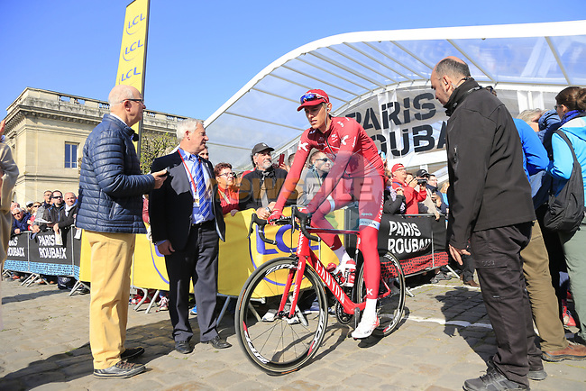 Nils Politt (GER) Team Katusha Alpecin at sign on for the 115th edition of the Paris-Roubaix 2017 race running 257km Compiegne to Roubaix, France. 9th April 2017.<br /> Picture: Eoin Clarke | Cyclefile<br /> <br /> <br /> All photos usage must carry mandatory copyright credit (&copy; Cyclefile | Eoin Clarke)