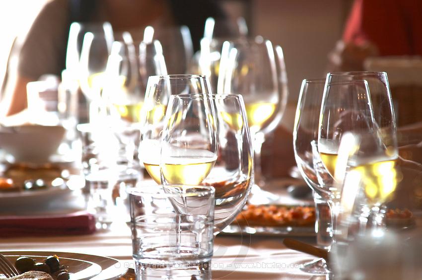 In the restaurant. Wine glasses. Herdade da Malhadinha Nova, Alentejo, Portugal