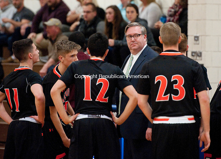 WOODBURY,  CT-122816JS18--Watertown head coach Paul Vance Jr, talks with his players during a time out in their Nonnewaug Holiday Tournament  game against Nonnewaug held Wednesday at Nonnewaug High School in Woodbury. <br /> Jim Shannon Republican-American