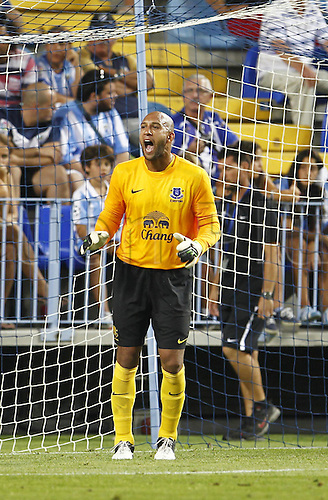 "11.08.2012. Malaga, Spain.  Tim Howard (Everton),  Pre season match ""Trofeo Costa del Sol"" between Malaga and Everton, at the Rosaleda Stadium, Malaga, Spain, August 11, 2012."