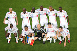 05 July 2006: France starting eleven.  Front row (l to r): Claude Makelele (FRA), Florent Malouda (FRA), Fabien Barthez (FRA), Willy Sagnol (FRA), Frank Ribery (FRA).  Back row (l to r): Zinedine Zidane (FRA), William Gallas (FRA), Lilian Thuram (FRA), Patrick Vieira (FRA), Thierry Henry (FRA), Eric Abidal (FRA). France defeated Portugal 1-0 at the Allianz Arena in Munich, Germany in match 62, the second semifinal game, in the 2006 FIFA World Cup.