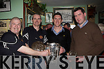 Killkenny player Derek Lyng presents the Club Person of the Year award to Jimmy Smith and Player of the year Tomas Barry at the St Pat's Hurling club awards night in Jimmy O'Brien's bar Killarney on Monday night l-r: Pat Delaney, Jimmy Smith, Derek Lyng and Tomas Barry