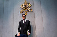 Il direttore dell'Autorità di Informazione Finanziaria (AIF) Tommaso Di Ruzza durante la conferenza stampa per la presentazione del rapporto annuale, Citta' del Vaticano, 28 aprile 2016.<br /> Tommaso Di Ruzza, president of the Financial Information Authority (AIF) of Vatican City, attends a press conference to present the annual report, at the Vatican, 28 April 2016.<br /> UPDATE IMAGES PRESS/Riccardo De Luca<br /> <br /> STRICTLY ONLY FOR EDITORIAL USE