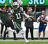 Robby Anderson #11 of the New York Jets dashes for the end zone after making a catch that resulted in a 76-yard touchdown in the second quarter of an NFL game against the Denver Broncos at MetLife Stadium in East Rutherford, NJ on Sunday, Oct. 7, 2018.
